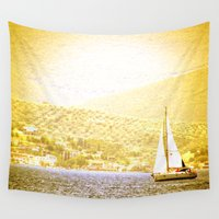 greece Wall Tapestries featuring SAILING BOAT GREECE by NioviSakali