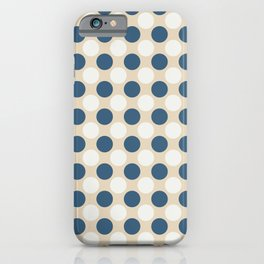 Dark Blue and Off White Uniform Large Polka Dots Pattern on Beige Matches Chinese Porcelain Blue iPhone Case