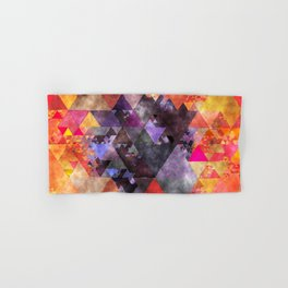 Abstract fire red yellow blue Triangle pattern - Watercolor Illustration Hand & Bath Towel