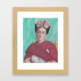 Watercolor Painting Pencil Drawing of Frida Kahlo, Sitting, with Red Shawl and Pink Flowers Framed Art Print