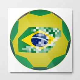 Football ball with Brazil flag Metal Print