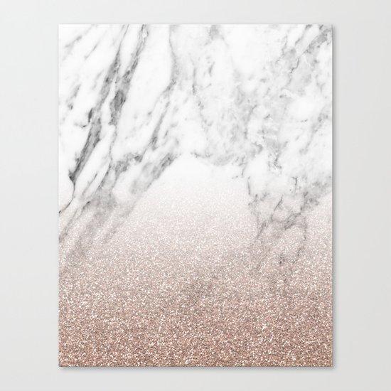Marble sparkle rose gold Canvas Print