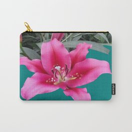 FUCHSIA PINK LILY TEAL ARTWORK Carry-All Pouch