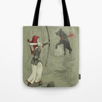 robin hood Tote Bags featuring Little Red Robin Hood by Santo76