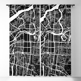 Street MAP Osaka // Black&White Blackout Curtain