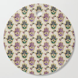 Hamsa Hand pattern - marble, amethyst and gold Cutting Board