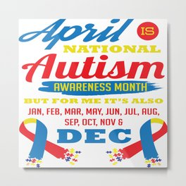 Autism Awareness Day Support Asperger Child Gift Metal Print