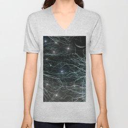 Moonlit Starry Night Sky Unisex V-Neck