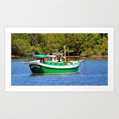 White And Green Boat Art Print