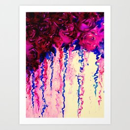 PETALS ON PARADE, Oxblood Marsala Red Royal Blue Floral Abstract Watercolor Roses Flowers Painting Art Print