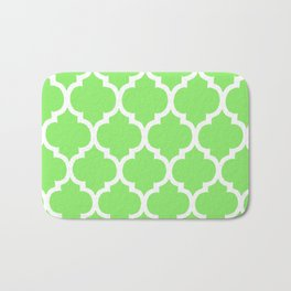 MOROCCAN LIME GREEN AND WHITE PATTERN Bath Mat