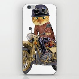 Cat riding motorcycle iPhone Skin