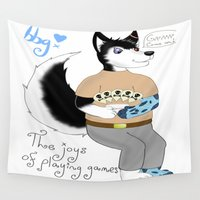 gaming Wall Tapestries featuring The Joys Of Gaming by beatboxgal