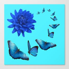 BLUE DAHLIA FLOWER & BLUE BUTTERFLIES ALLURE Canvas Print