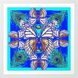 TURQUOISE & CREAM COLORED BUTTERFLIES  BLUE PEACOCK ART Art Print