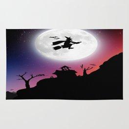 Purple Halloween Witch Silhouette Rug