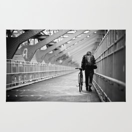 One Way Life , Traveler , Biker , NYC , Williamsburg Bridge  Rug