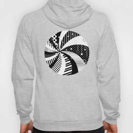 B/W Stripes and Polka Dots Graphic Art Hoody