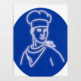 Chef Looking to Side Glowing Neon Sign Poster