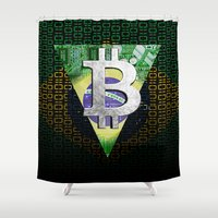 brazil Shower Curtains featuring bitcon Brazil by seb mcnulty