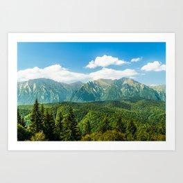 Carpathian Mountains Landscape, Summer Travel Landscape, Transylvania Mountains, Forests Of Romania Art Print