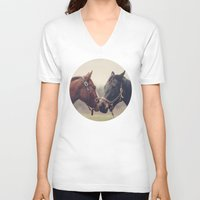 horses V-neck T-shirts featuring Horses  by Laura Ruth