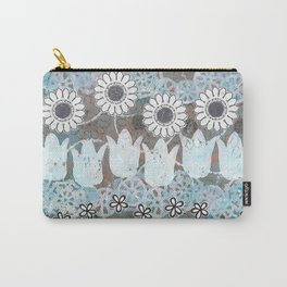 Florals in Neutral Carry-All Pouch