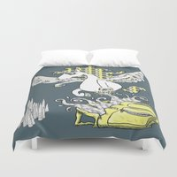 backpack Duvet Covers featuring Magical Mystery Backpack by Amy Gale