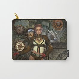Steampunk, steampunk women with clocks and gears Carry-All Pouch