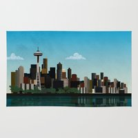 seattle Area & Throw Rugs featuring Seattle by WyattDesign