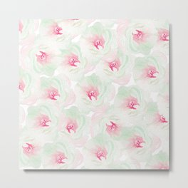 Hand painted pink teal watercolor modern floral Metal Print