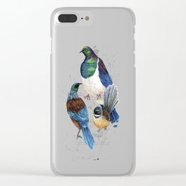 thee birds in a tree Clear iPhone Case