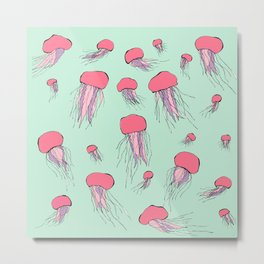 Pastel colors jellyfish Metal Print
