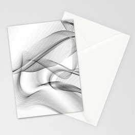 Minimal black and white smoky flux in motion #abstractart #decor Stationery Cards