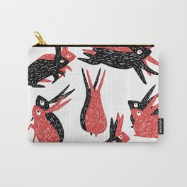 Black and Red Rabbits Carry-All Pouch