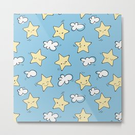 Modern Cartoon Star And Blue Background Metal Print