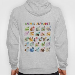 Cute cartoon zoo illustrated alphabet with funny animals. English alphabet. Hoody