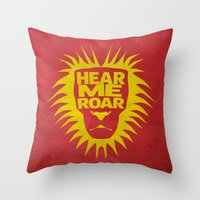 lannister Throw Pillows featuring House Lannister - Hear Me Roar by Jack Howse
