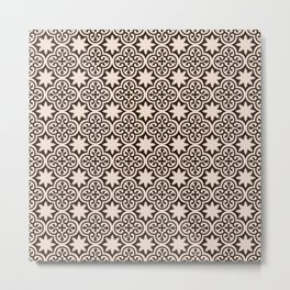 -A28- Brown Traditional Moroccan Pattern Artwork. Metal Print