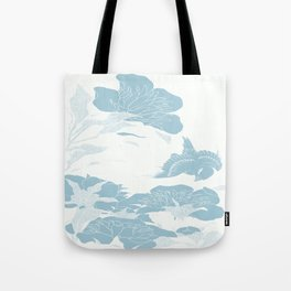 japanese Flowers White and Blue Tote Bag