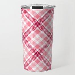 Pink and Red Valentine's Plaid Travel Mug