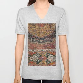 Persian Medallion Rug IX // 16th Century Distressed Red Green Blue Flowery Colorful Ornate Pattern Unisex V-Neck