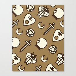 Witchy Vintage Pattern - Brown Canvas Print
