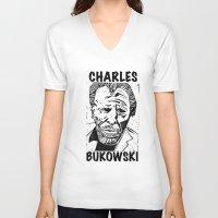bukowski V-neck T-shirts featuring Charles Bukowski Lino Cut  by Michael Christopher Smith Art