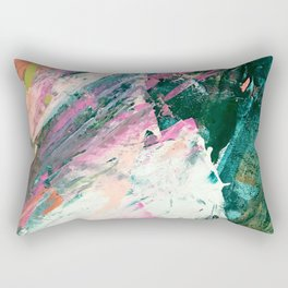 Meditate [5]: a vibrant, colorful abstract piece in bright green, teal, pink, orange, and white Rectangular Pillow