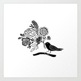 Linocut black an white bird with botanical floral nature printmaking art Art Print