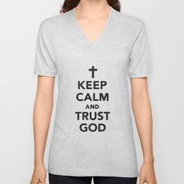 Keep Calm And Trust Jesus Unisex V-Neck