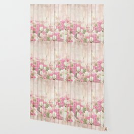 Beautiful Pink Tulip Floral Vintage Shabby Chic Wallpaper