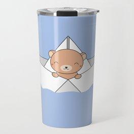 Kawaii Cute Brown Bear On A Boat Travel Mug