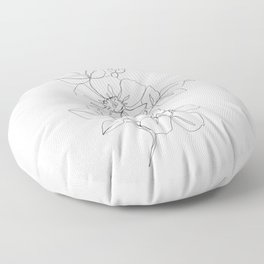 Floral one line drawing - Rose Floor Pillow